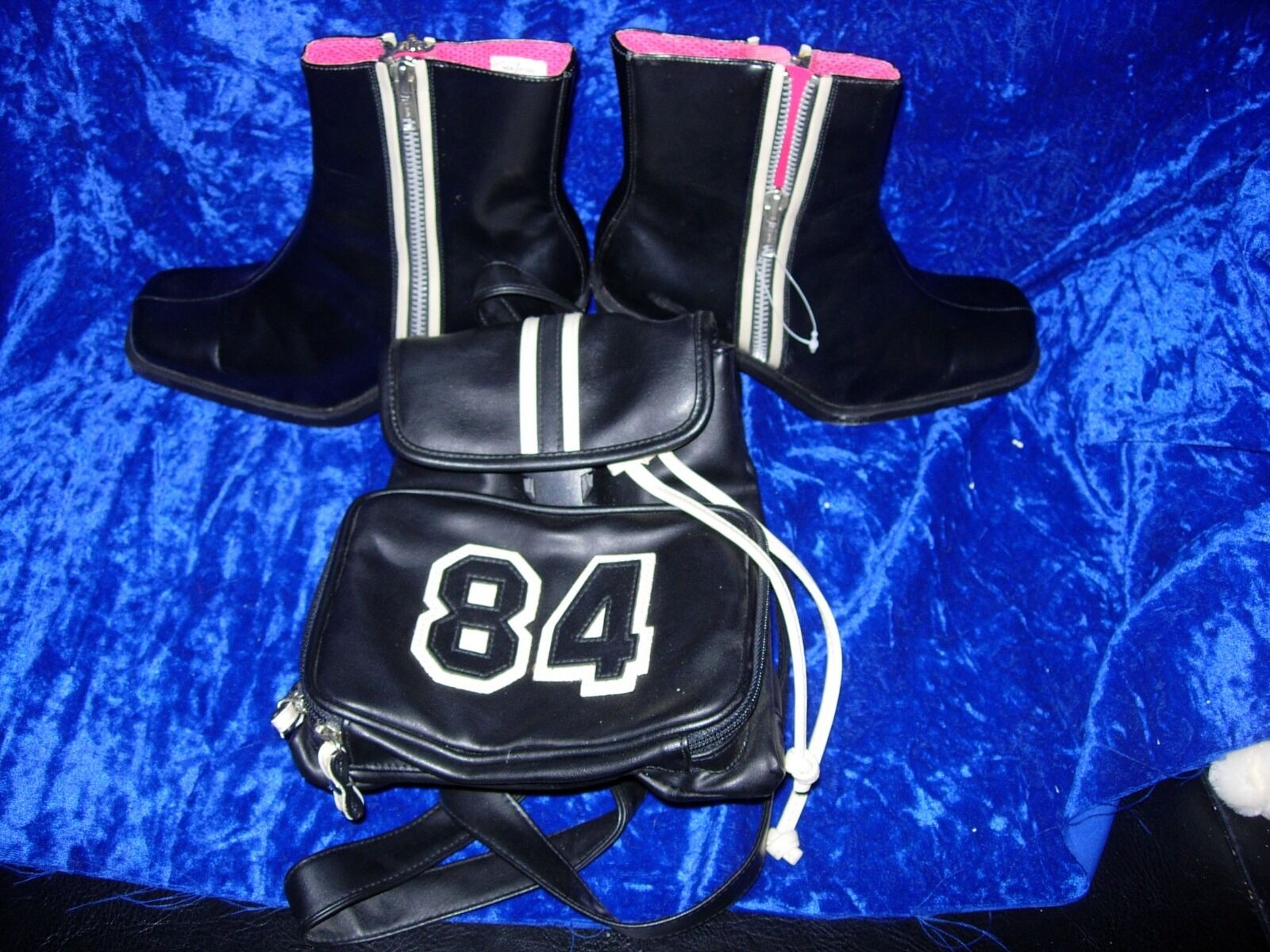 Black faux leather w ivory pink trim zipper ankle boots sz 8 & backpack 84