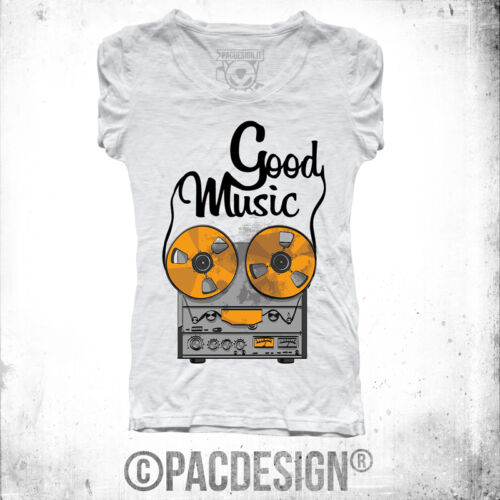 T-SHIRT DONNA GOOD MUSIC OLD SCHOOL VINIL TAPE WHY SO VINTAGE DK0147A