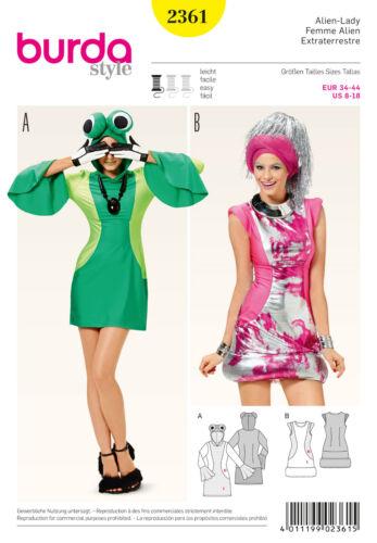 burda style Schnittmuster No 2361 Alien-Lady effektvolles Minikleid Gr 34-44