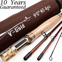 5WT Fly Rod 9FT 4Piece Fast Action (Graphite IM12) Fly Fishing Rod&Cordura Tube