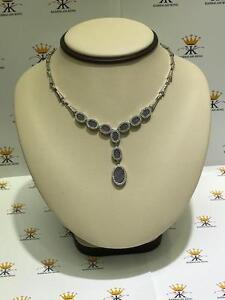 Platinum-Sterling-Silver-Alexandrite-amp-White-Sapphire-Halo-Drop-Tennis-Necklace