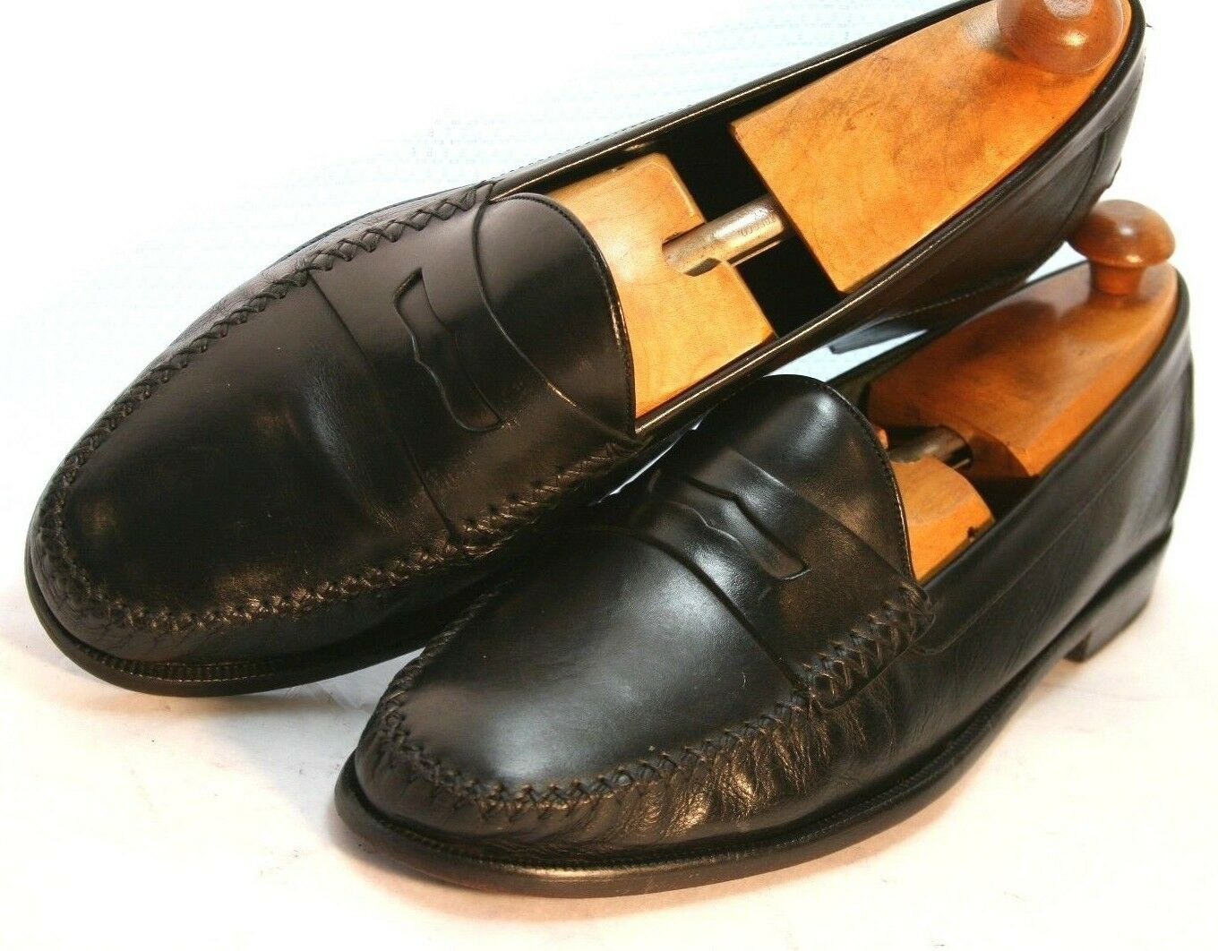 COLE HAAN  RESORT  BLACK LEATHER PENNY LOAFERS DRIVING SHOES 12 D