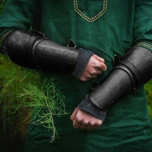 Faux Leather Bracer Medieval Gauntlet Armor Cuff Knight Cosplay Costumes Porps
