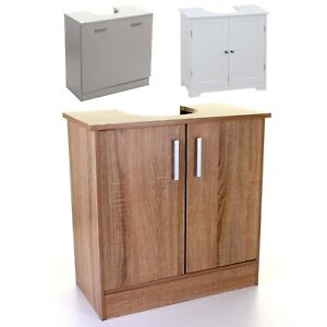 Image is loading UNDER-SINK-CABINET-BASIN-STORAGE-UNIT-CUPBOARD-BATHROOM-  sc 1 st  eBay & UNDER SINK CABINET BASIN STORAGE UNIT CUPBOARD BATHROOM WOOD WHITE ...