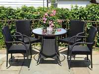 Patio Resin Outdoor 5 Pc Wicker Set 4 Arm Chairs And Round Dining Table. Black