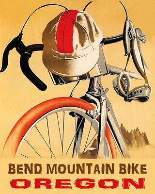 POSTER BICYCLE BEND MOUNTAIN BIKE OREGON USA CYCLING SPORT VINTAGE REPRO FREE SH
