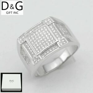 Dg Men S 925 Sterling Silver Cz Iced Out Eternity Wedding Ring 8 9