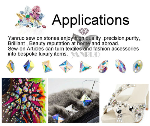 Yanruo 3255 Rectángulo claro Flatback cose en diamantes de imitación de cristal para ropa