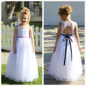 095f31d41db Lace Tulle White A-Line Flower Girl Dresses Communion Dress Toddler ...