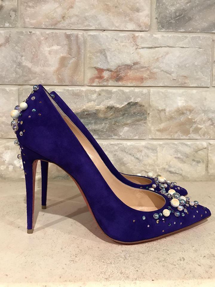 NIB Christian Louboutin Candidate 100 violet Pearl Crystal Heel Pump 39  1195