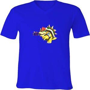 Nintendo-Mario-Bowser-Tennis-Unisex-Men-Women-V-Neck-Family-Video-Game-T-Shirt