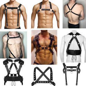 Men-Leather-Harness-Muscle-Body-Chest-Waist-Belts-Punk-Cospaly-Clubwear-Costume