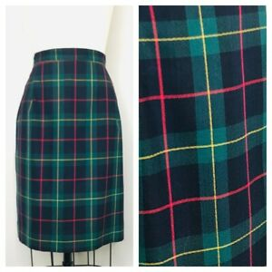 Vintage-JH-Collectibles-Skirt-Size-12-Plaid-Midi-100-Wool-Back-Zip
