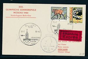 97458) Rda Coursier So-carte If Olympiades Sf Berlin-kiev 18.7.80-afficher Le Titre D'origine