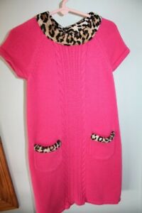 Gymboree-Size-7-Parisian-Chic-Pink-Leopard-Cheetah-Spring-Sweater-Dress-Pockets
