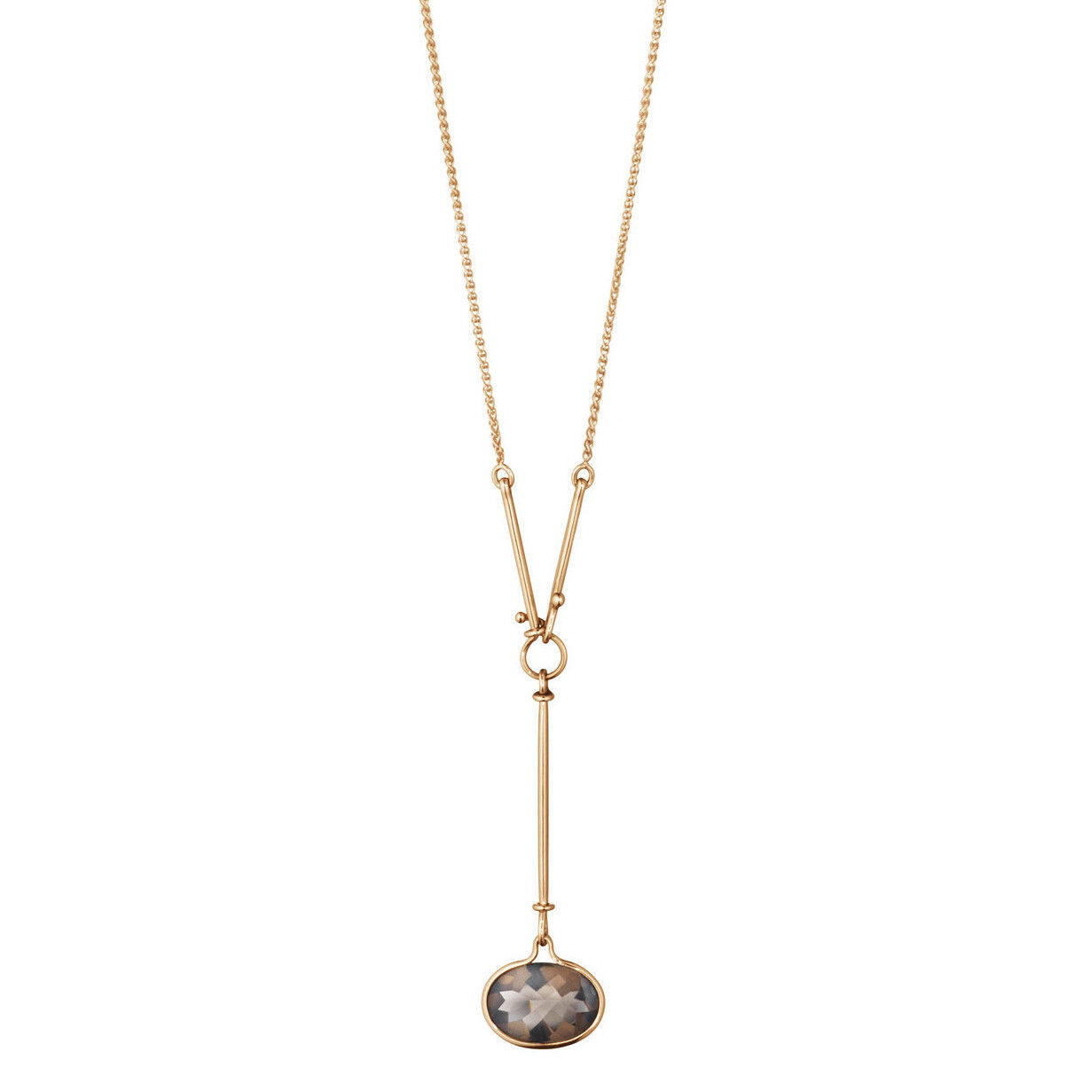 Georg Jensen 18k pink gold Pendant with Smoke Quartz B. 90 cm. - Savannah