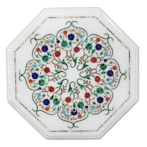 15 Inches Marble Coffee Table Top Inlay End with Semi Precious Stones Work