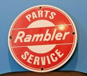 VINTAGE-RAMBLER-PORCELAIN-GAS-AUTOMOBILE-SERVICE-STATION-DEALERSHIP-SIGN