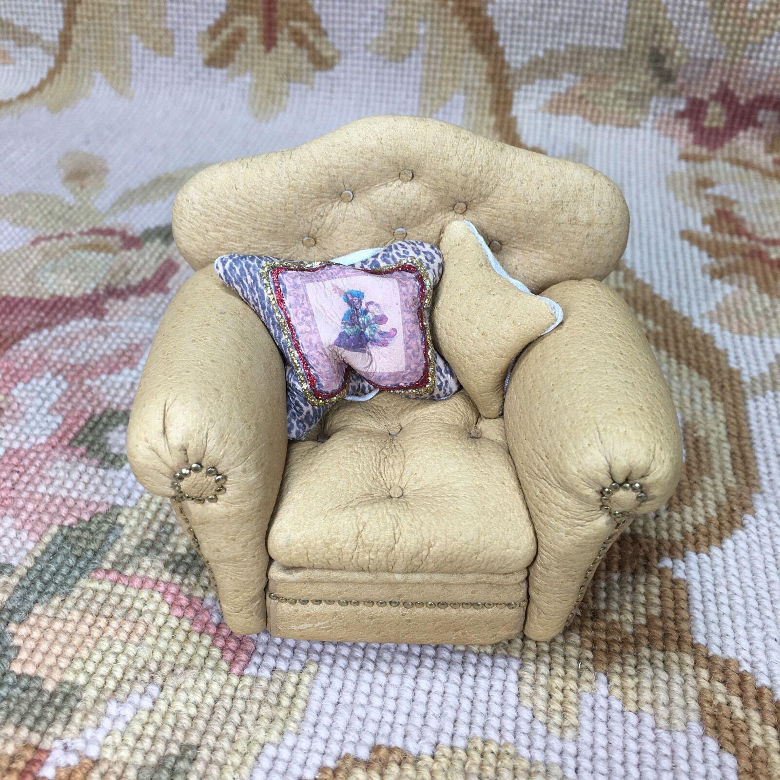 Pat Tyler Dollhouse Miniature Tan Leather Club Chair Seat W Pillows p401