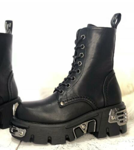 Combat Boots Women High Top Leather Motorcycle Boots Lace Up Gothic Shoes Sbox14