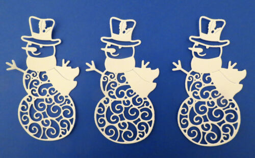 Snowman Intricate Winter Christmas Paper Die Cut Embellishment Set of 3