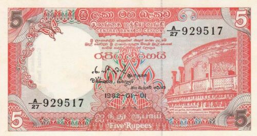 Ruins//Statue of Deity//p91a UNC 1.1.1982 Sri Lanka 5 Rupees