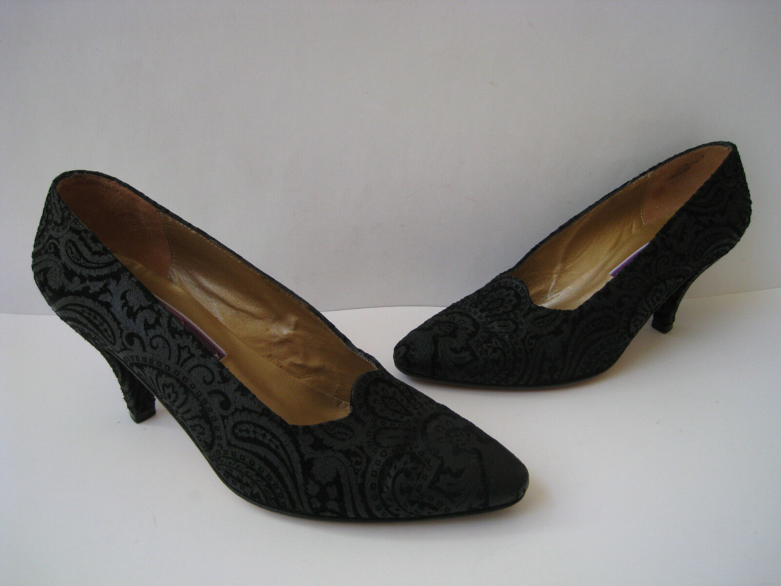 PHYLLIS POLAND BLACK PUMPS LEATHER PUMPS BLACK HEELS WOMEN SIZE  5.5B HOT ITALY VINTAGE 0006df