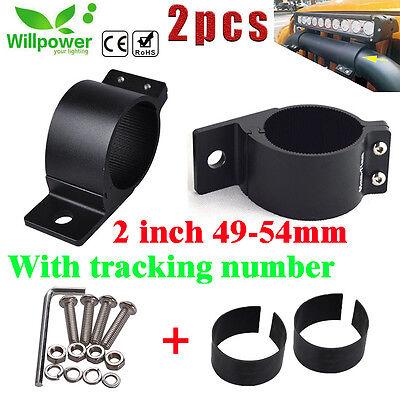 """2x 2/"""" 49-54mm Bull Bar Roof Roll Cage Tube Mount Bracket Clamp LED Light Holder"""