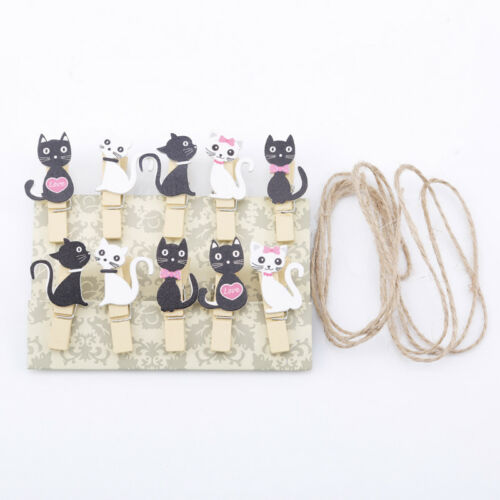 Animal Kitten Photo Paper Peg Memo Clips With Rope Photo Wall Hanging Shan