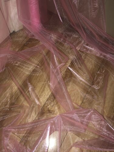 """6 MTR BABY PINK ORGANZA VOILE WEDDING,CURTAIN,DECORATION,DRESS FABRIC 58"""" WIDE"""