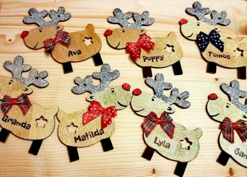 Personalised Hanging Wooden Reindeer Rudolph Christmas Tree Bouble Xmas Handmade