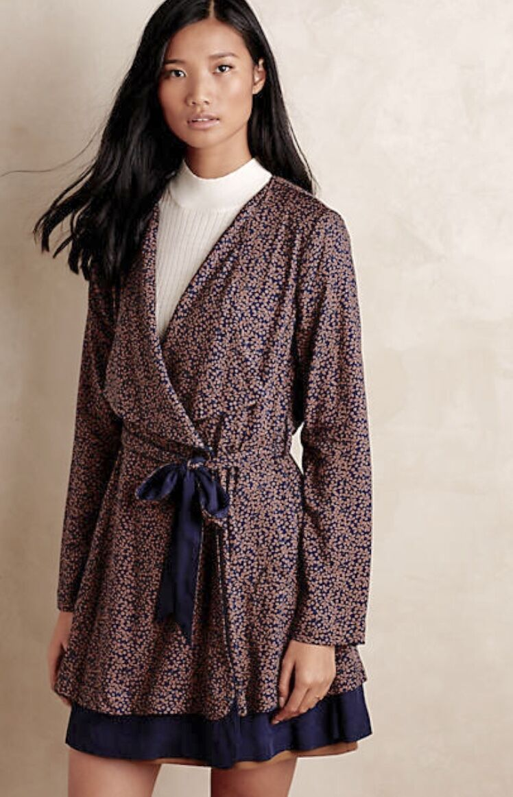 NEW Anthropologie Blau braun Printed Swingy Belted Trench Coat Dress M