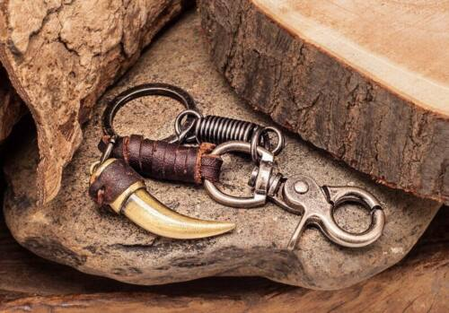 C78 Brown Mens Cool Horn Pendant Punk Rock Leather Key Ring Keychain Key Holders