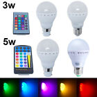 3W 5W B22 E27 RGB Color Changing Party LED Globe Light Bulb+IR Remote Controller