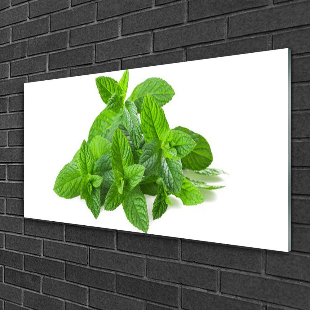 Tableau sur verre Image Impression 100x50 Floral Menthe