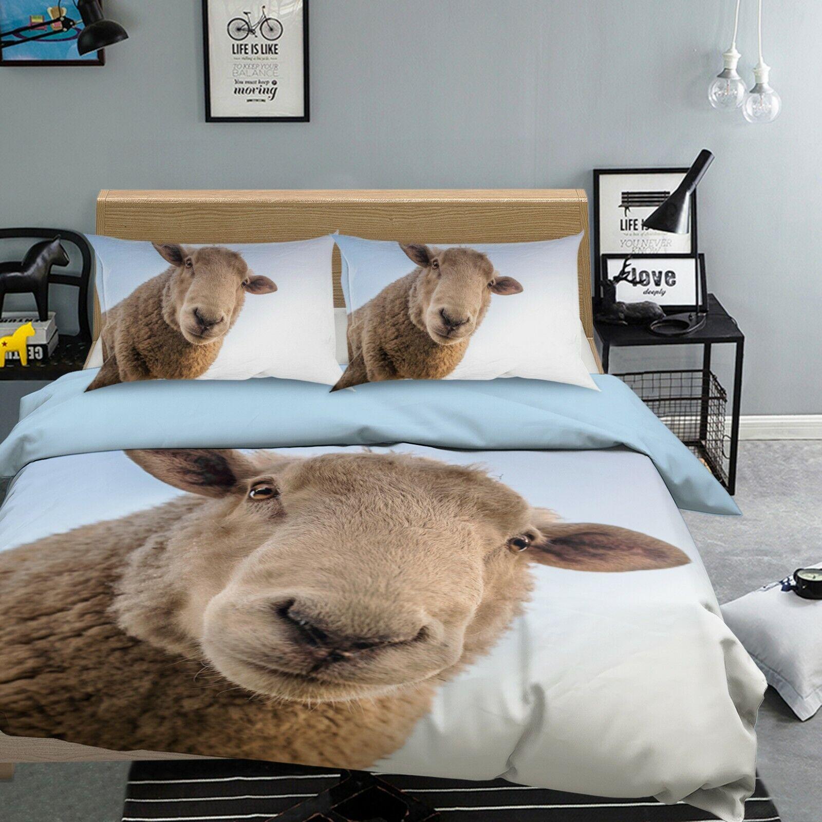 3D Merino Sheep O93 Animal Bed Pillowcases Quilt Duvet Cover Set Queen King Amy