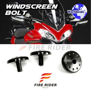 FRW-BLACK-Windscreen-Plug-Bolts-Screw-3pcs-For-Ducati-Multistrada-1200-2010-15