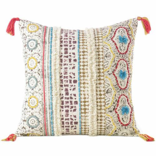 Colorful Decorative Embroidered Fringe Colorful Pillow Cotton Cushion Cover Case
