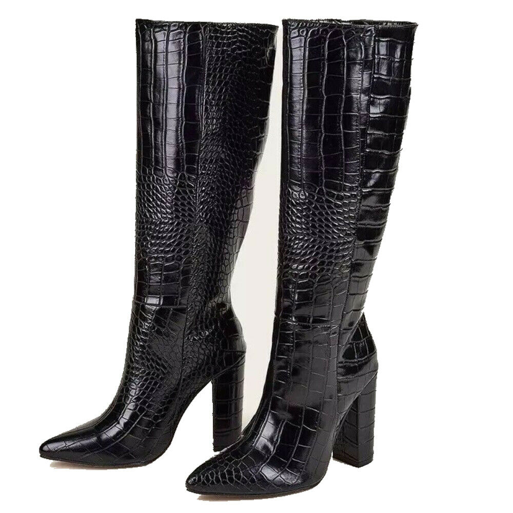 Women's Long Boots High Boots Knee High Black Shoes Waterproof Patent Warm Boots
