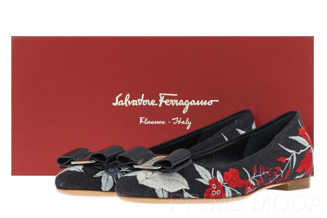 NEW SALVATORE FERRAGAMO VARINA JEA DENIM FLORAL LOGO BOW BALLET FLAT chaussures 6 C