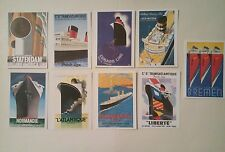 9 cartes postales paquebots célèbres Transatlantique, Normandie l'Atlantique