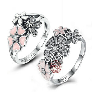 925 Silver Daisy  Ring Flower White Topaz Rose Gold Wedding Jewelry Size 6-10