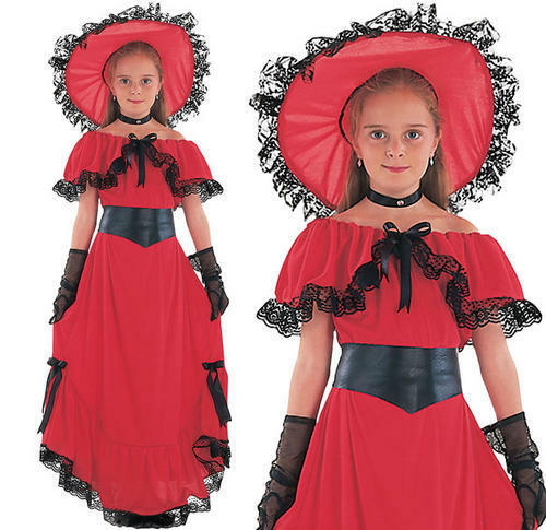 Childrens Scarlet O/'Hara Fancy Dress Costume Childs Book Week Outfit 3-13 Yrs