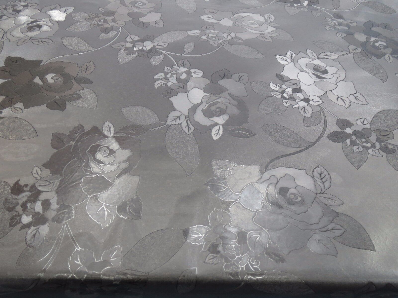 EMBOSSED FLORAL pink FROSTY CLEAR PLASTIC PVC VINYL CLEAR TABLE CLOTH PredECTOR
