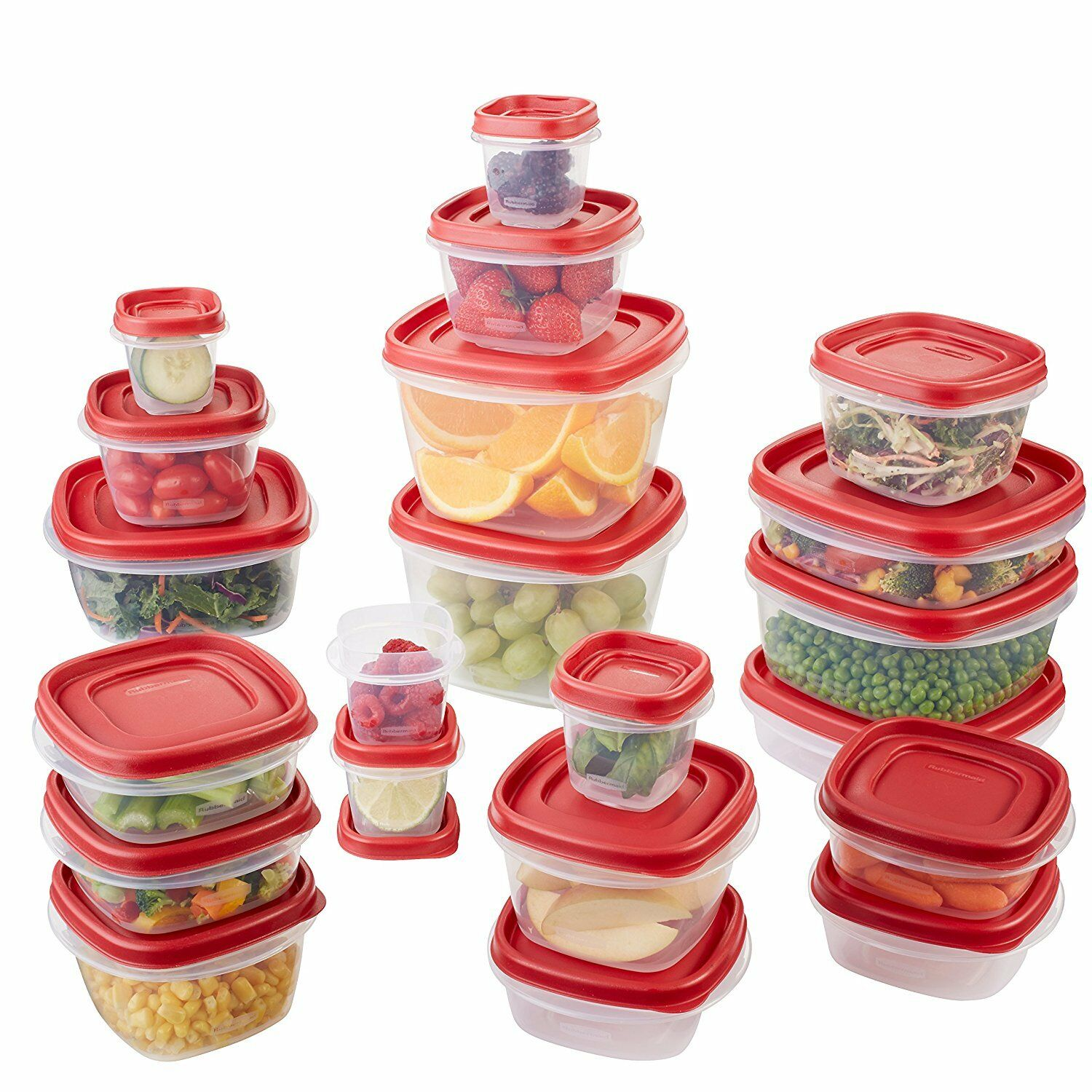 NEW RUBBERMAID EASY FIND LIDS FOOD STORAGE CONTAINER 42 42 42 PIECE SET rot 1880801 09be48