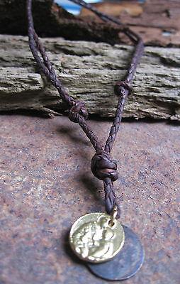 GüNstiger Verkauf Münze Neu Leder Kette Amulett Heilige Lederkette Herrenkette Braun Herren Damen