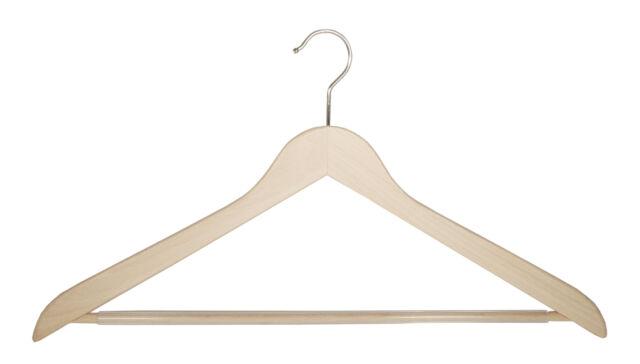 flach Holzbügel für Anzüge und Zweiteiler mit Steg NEU 50cm 5 Stück schwarz