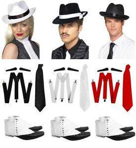 GANGSTER BLACK HAT WHITE BRACES TIE SPATS GLASSES SET 1920/'S FANCY DRESS COSTUME