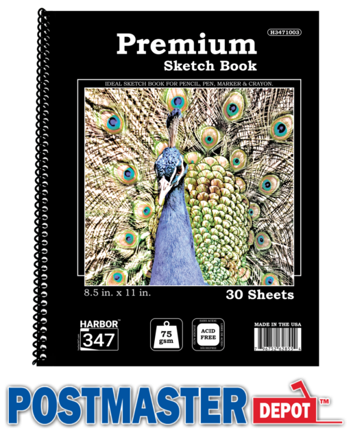 "30 Sheets 8.5"" X 11"" Side Bound Spiral Premium Sketch Book Paper Pad, Harbor 347"