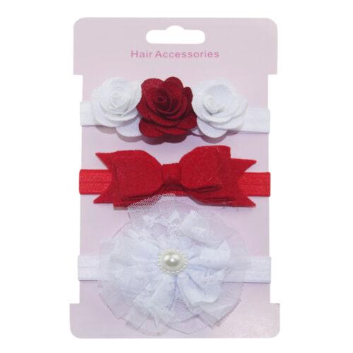3//7//17PCs mignon bébé enfants filles fleur de cheveux Accessoires Elastique Serre-tête épingles à cheveux